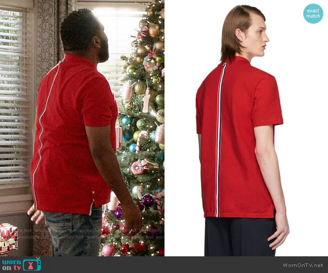 Thom Brown Short-Sleeve Pique Polo Shirt worn by Andre Johnson (Anthony Anderson) on Blackish