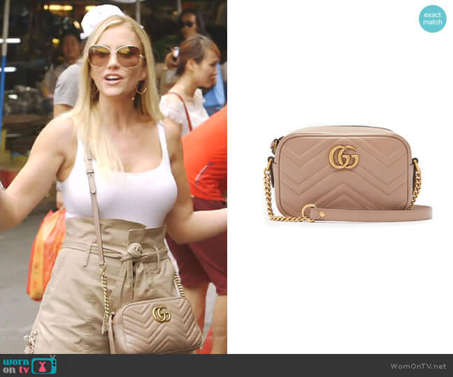 GG Marmont Small Quilted-Leather Bag by Gucci worn by Stephanie Hollman  on The Real Housewives of Dallas