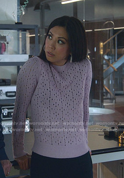 Tina's lavender eyelet sweater on Marvels Runaways