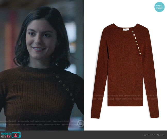Button Ribbed Pullover by Topshop worn by Monica Barbaro on Stumptown