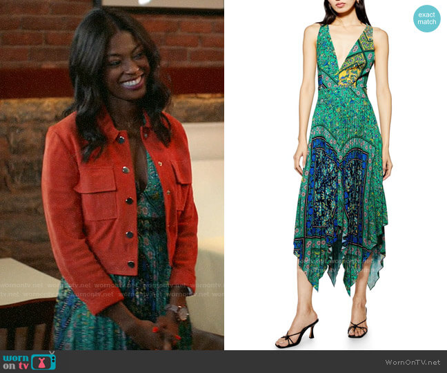 Topshop Paisley Handkerchief Hem Pinafore Midi Dress worn by Ali Finer (Javicia Leslie) on God Friended Me