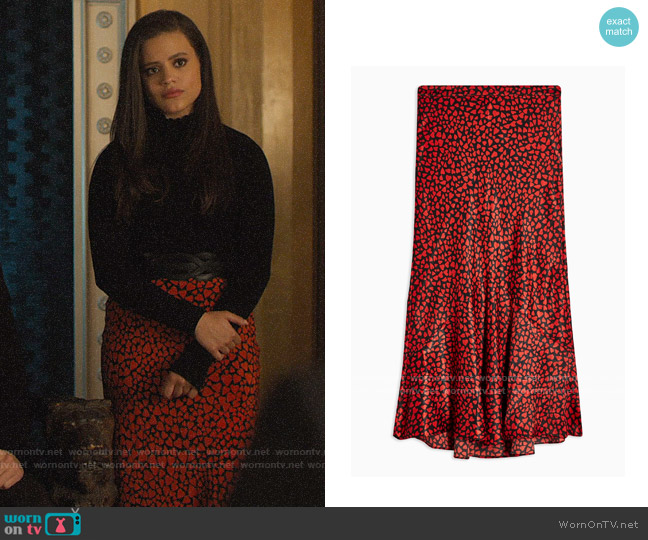 Topshop Red Heart Satin Flounce Midi Skirt worn by Maggie Vera (Sarah Jeffery) on Charmed