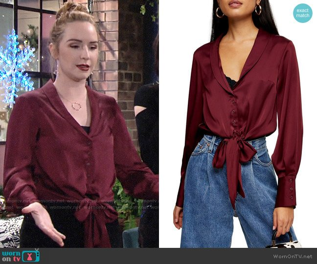 Topshop Tie Hem Satin Top worn by Mariah Copeland (Camryn Grimes) on The Young & the Restless