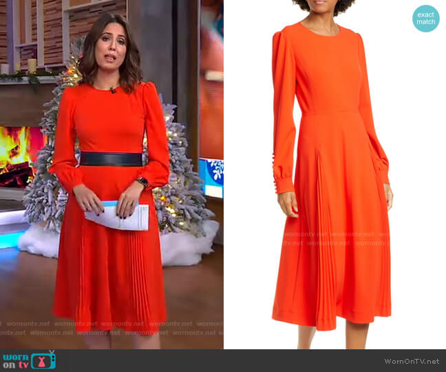 Pleat Detail Long Sleeve Crepe Dress by Tory Burch worn by Cecilia Vega  on Good Morning America