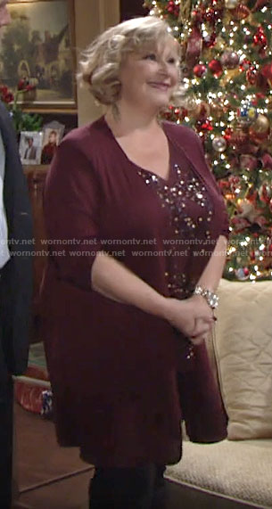 Traci's red sequin top and cardigan on The Young and the Restless
