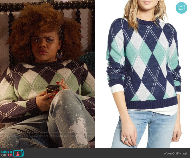 Treasure & Bond Offset Argyle Pullover worn by Kourtney (Dara Renee) on High School Musical The Musical The Series