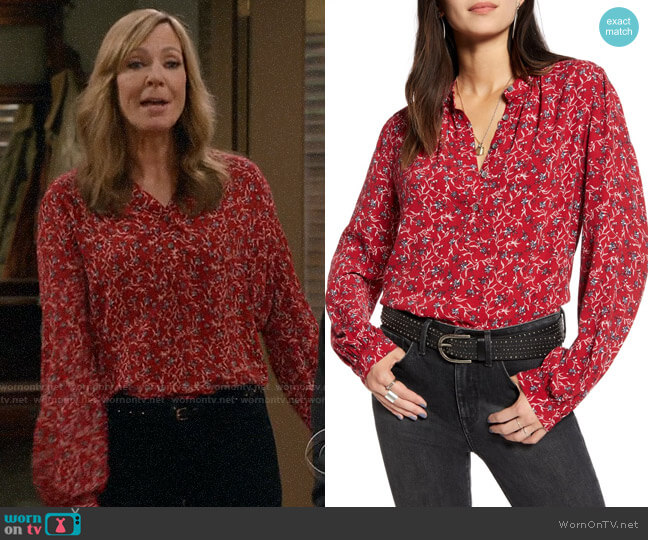 Treasure & Bond Red Dahlia Mini Vine Lily Printed Front Button Top worn by Bonnie Plunkett (Allison Janney) on Mom