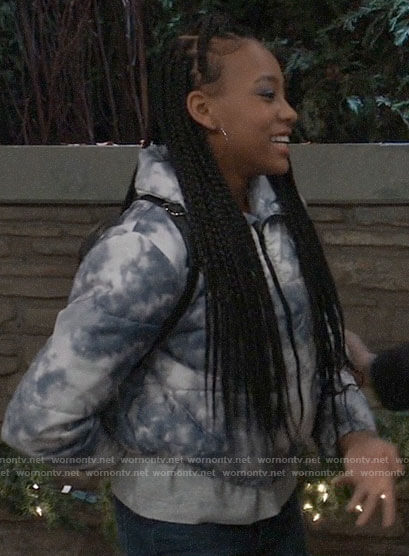 Trina's blue tie dye puffer jacket on General Hospital