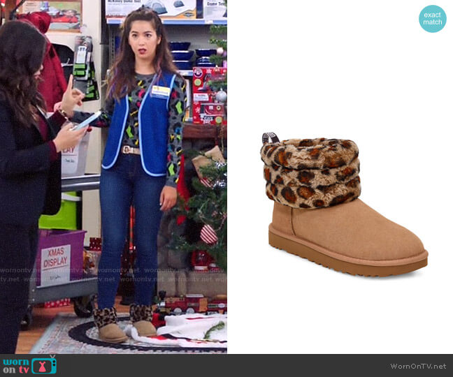 Ugg Mini Fluff Quilted Leopard Print Boot worn by Cheyenne (Nichole Bloom) on Superstore