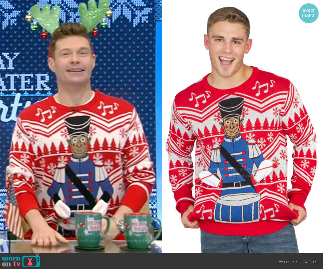Flappy Drummer Boy Animated Sweater by Ugly Christmas Sweater worn by Ryan Seacrest on Live with Kelly and Ryan