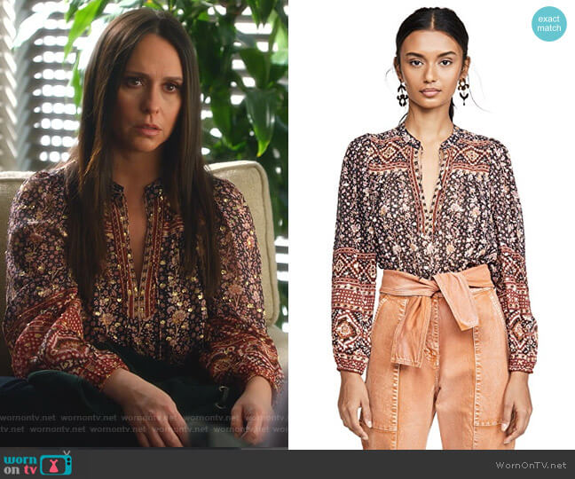 Constance Blouse by Ulla Johnson worn by Maddie Kendall (Jennifer Love Hewitt) on 9-1-1