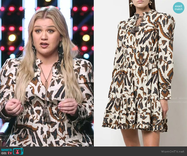 Printed Long Sleeve Dress by Ulla Johnson worn by Kelly Clarkson  on The Voice