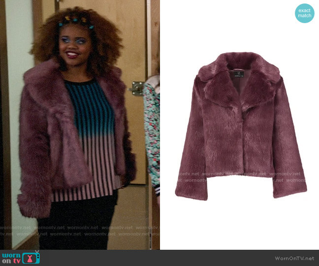 Unreal Fur Madam Butterfly Jacket worn by Kourtney (Dara Renee) on High School Musical The Musical The Series