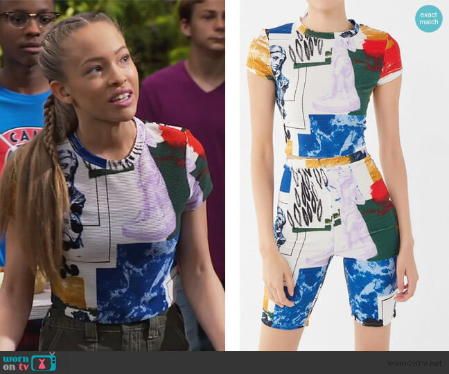 When In Rome Printed Ribbed Cropped Top by Urban Outfitters worn by Ava (Shelby Simmons) on Bunkd