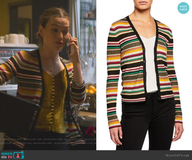 Keke Striped Ribbed Cardigan by Veronica Beard worn by Love Quinn (Victoria Pedretti) on You