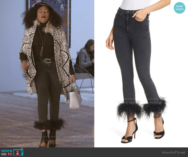 Kareena Feather Hem Skinny Jeans by Veronica Beard worn by Cookie Lyon (Taraji P. Henson) on Empire