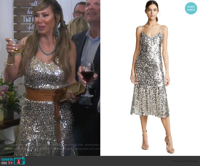 Mykola Sequin Dress by Veronica Beard worn by Kelly Dodd  on The Real Housewives of Orange County