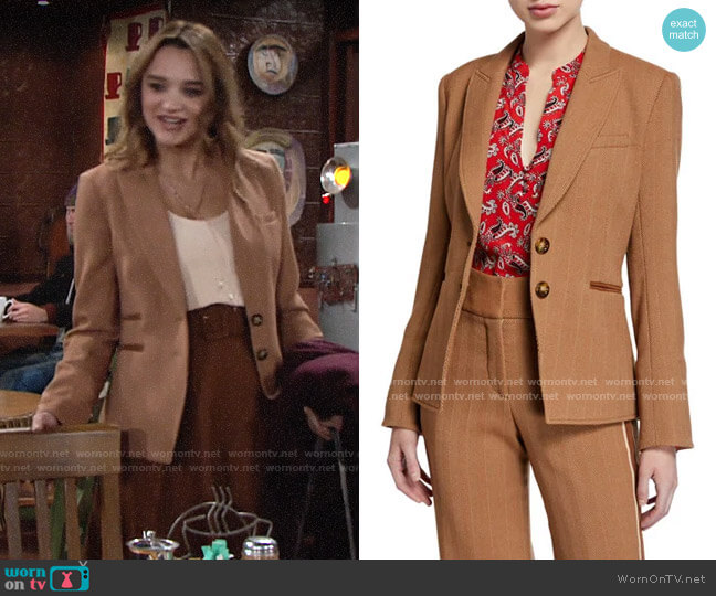 Veronica Beard Hudson Herringbone Blazer worn by Summer Newman (Hunter King) on The Young & the Restless