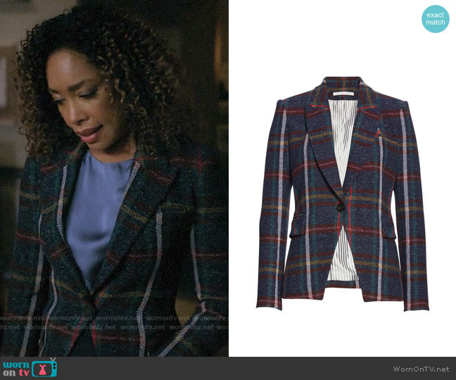 Veronica Beard Zane Plaid Dickey Jacket worn by Mrs Burble (Gina Torres) on Riverdale