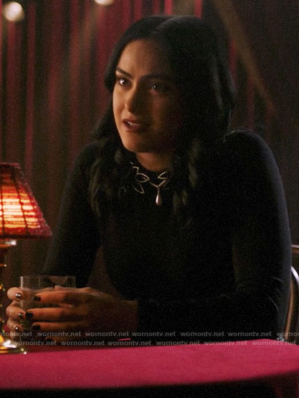 Veronica's black sweater with beaded collar on Riverdale