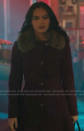 Veronica's purple fur-collar coat on Riverdale