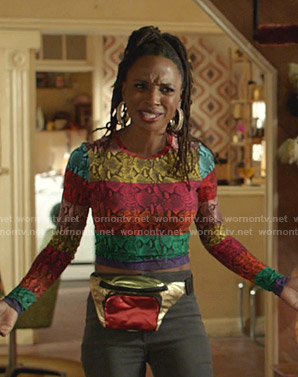 Veronica's rainbow snake print top on Shameless
