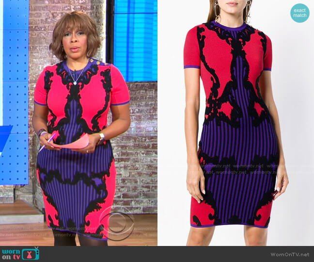 Intarsia-Knit Dress by Versace worn by Gayle King  on CBS This Morning