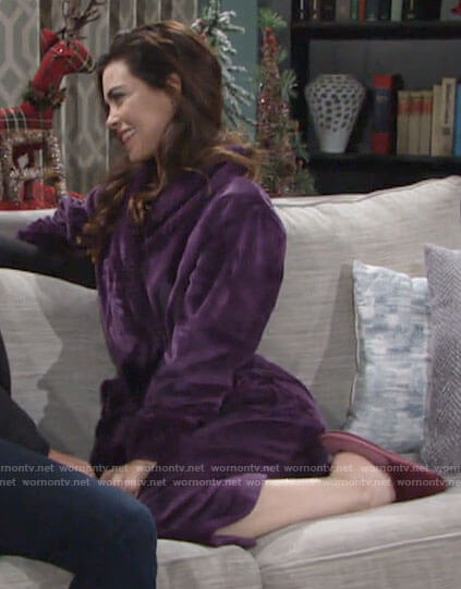 Victoria's purple plush robe on The Young and the Restless