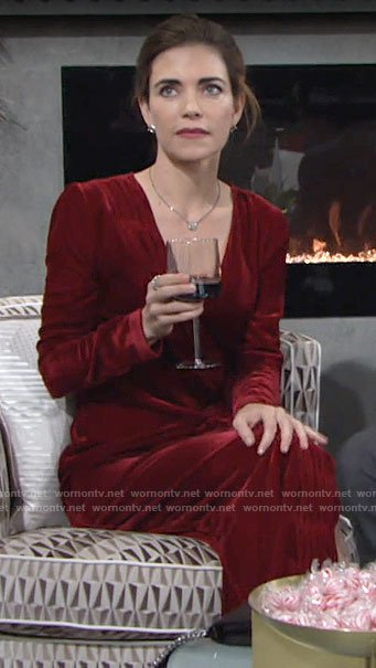 Victoria's red velvet long sleeve dress on The Young and the Restless