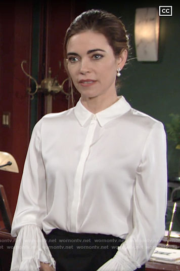 Victoria's white ruffled cuff blouse on The Young and the Restless