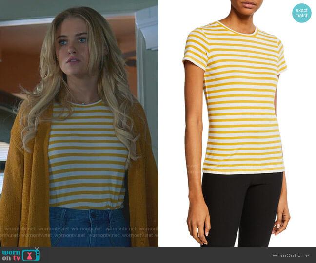 Bengal Stripe Essential Cotton T-Shirt by Vince worn by Karolina Dean (Virginia Gardner) on Marvels Runaways