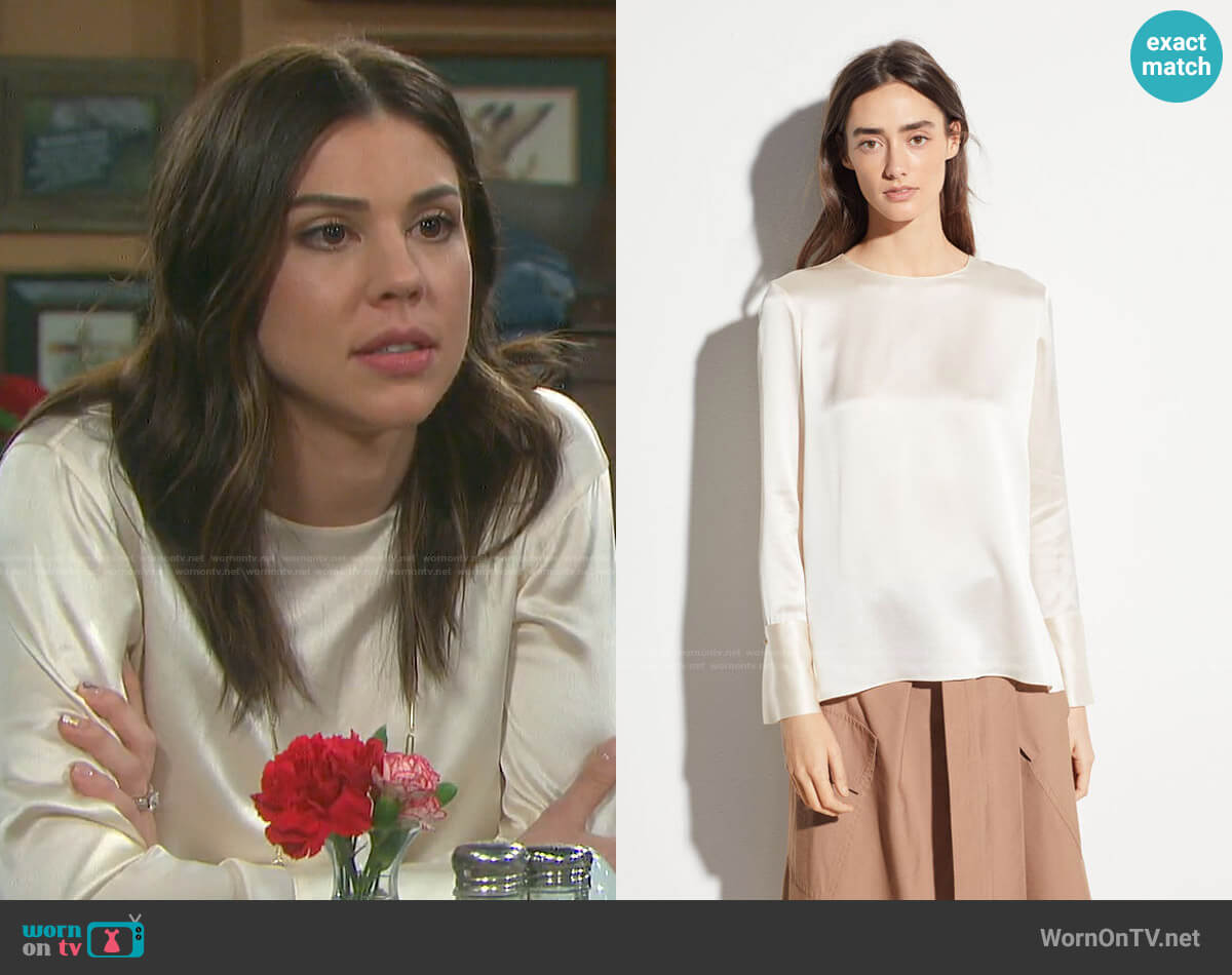Vince Crew Neck Silk Blouse worn by Abigail Deveraux (Kate Mansi) on Days of our Lives