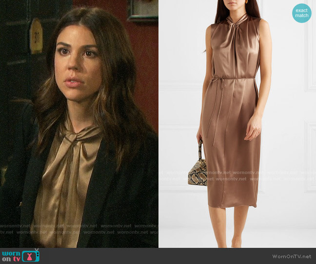 Vince Knotted silk-satin dress worn by Abigail Deveraux (Kate Mansi) on Days of our Lives