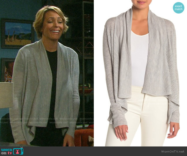 Vince Ribbed Open Front Wool Blend Cardigan worn by Nicole Walker (Arianne Zucker) on Days of our Lives