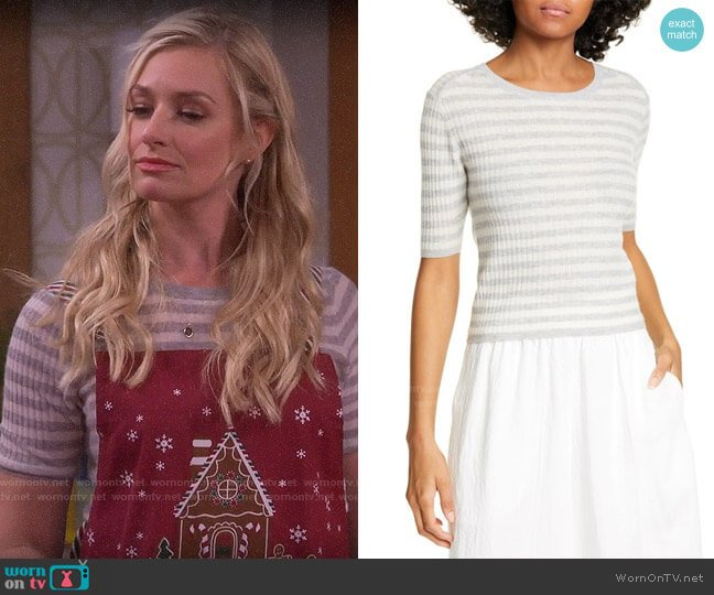 Vince Stripe Rib Cashmere Sweater worn by Gemma (Beth Behrs) on The Neighborhood