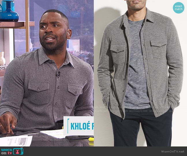 Wool Cashmere Long Sleeve Shirt by Vince worn by Justin Sylvester  on E! News