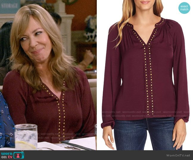 Vince Camuto Stud-Trimmed Satin Blouse worn by Bonnie Plunkett (Allison Janney) on Mom