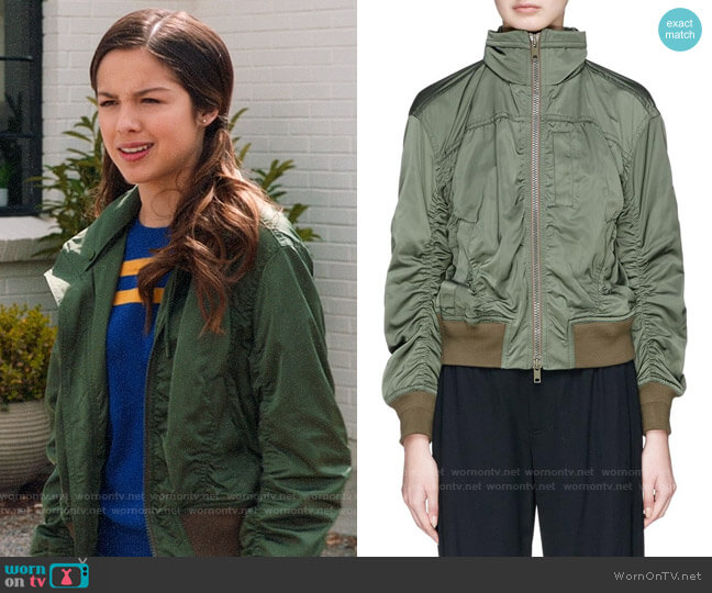 Vince Ruched Hooded Bomber Jacket worn by Nini (Olivia Rodrigo) on High School Musical The Musical The Series
