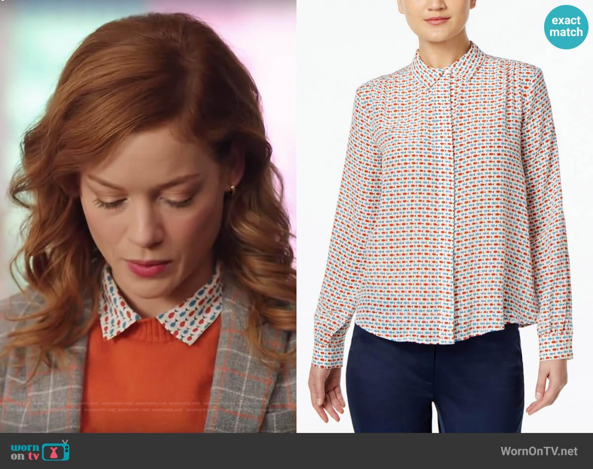 Weekend Max Mara Silk Fish Print Shirt worn by Zoey Clarke (Jane Levy) on Zoeys Extraordinary Playlist
