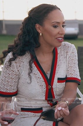 Tanya Sam's white lace dress with stripe trim on The Real Housewives of Atlanta