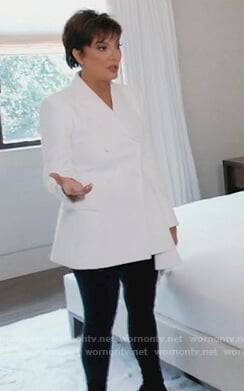Kris's white ruffle blazer on Keeping Up with the Kardashians