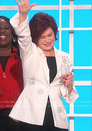 Sharon's white embellished blazer on The Talk