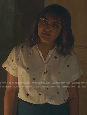 Gert's white floral embroidered shirt on Marvels Runaways
