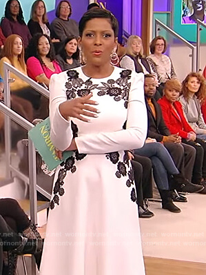 Tamron's white floral embroidered dress on Tamron Hall Show