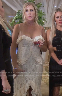 Vicki's white floral lace dress on The Real Housewives of Orange County