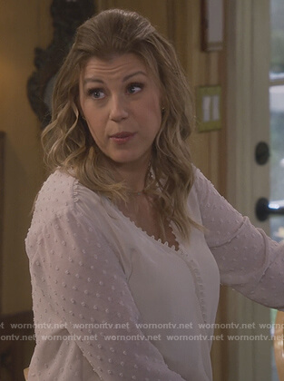 Stephanie's white sheer wrap blouse on Fuller House