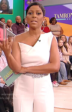 Tamron's white off shoulder jumpsuit on Tamron Hall Show