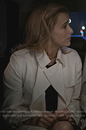 Elizabeth's white trench coat on Madam Secretary