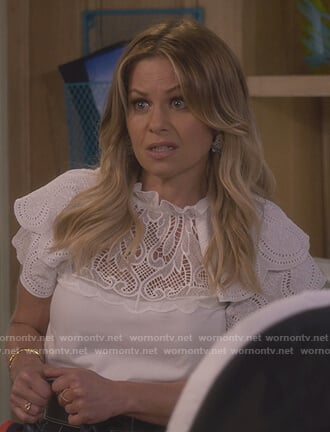 DJ's white eyelet top and skirt on Fuller House