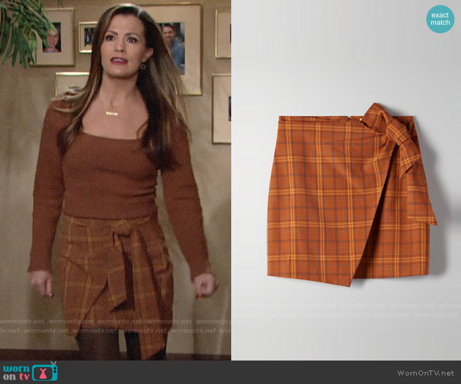 Aritzia Wilfred Dorine Skirt worn by Chelsea Lawson (Melissa Claire Egan) on The Young & the Restless